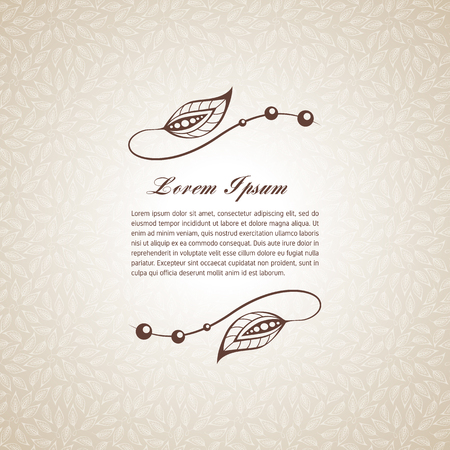 Template for short text, greeting cards, invitations, menus, labels. Graphic design pages on seamless pattern.