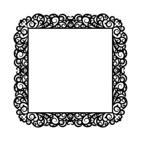 pictureframe: A square frame with a rich ornate decoration on a white background. Design element for processing texts, cards
