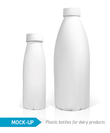 plastic bottles: Vector realistic white plastic bottle for dairy products, juice or milk. Mock-up packages