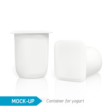 packet: Realistic vector plastic container of yogurt or other dairy products. Mock-up packages