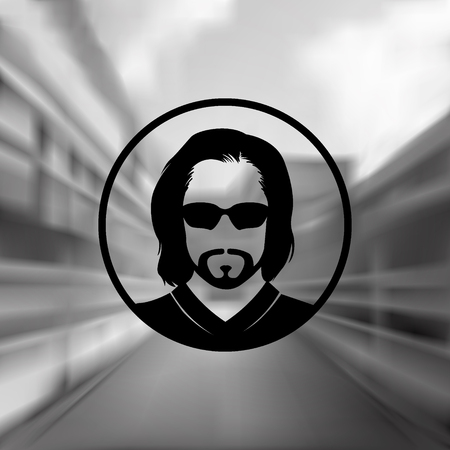 whisker characters: Vector silhouette of a stylish young man with a beard in sunglasses on a blurred background. Logo, picture, design element.