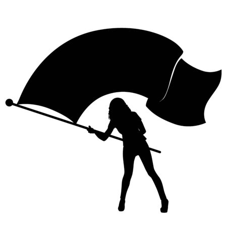 sexy teenage girl: Vector silhouette of a girl waving a large flag. Illustration