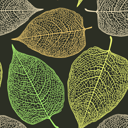 Vector seamless pattern with large skeletonized leaves.