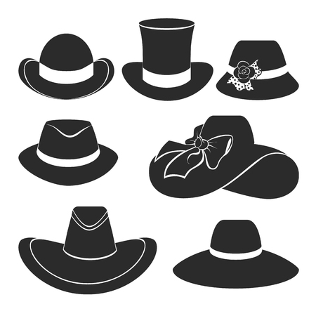 brimmed: vector set of flat icons with classic hats