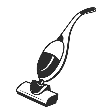 electric broom: vector black cleaner icon on white background Illustration