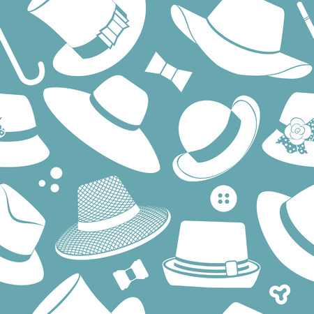 brimmed: vector seamless pattern with vintage hats