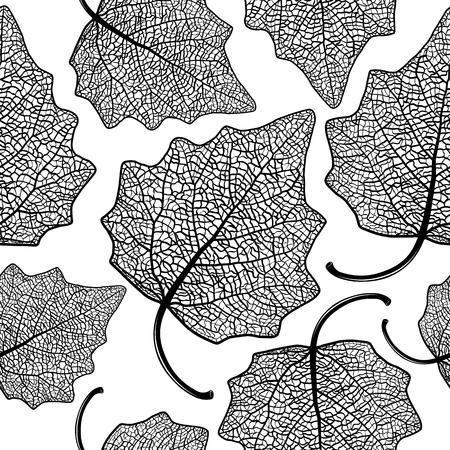 Modelo inconsútil del vector con las hojas de álamo de esqueleto. Ilustración de vector