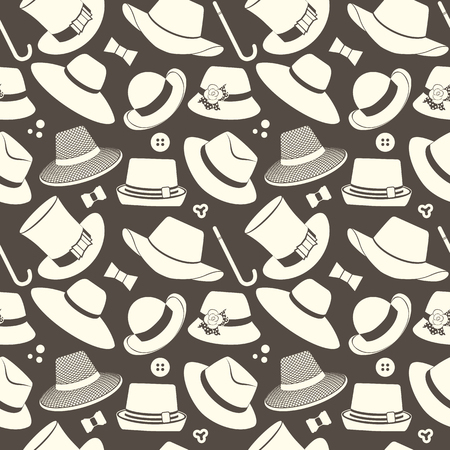 brimmed: vector seamless pattern with various vintage hats Illustration