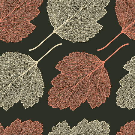 Vector seamless pattern with skeletonized hawthorn leaves.