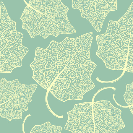 Vector seamless pattern with skeletonized poplar leaves.