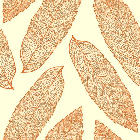 Vector seamless pattern with skeletonized rowan leaves. Иллюстрация