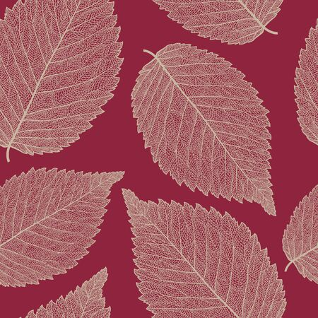 elm: Vector seamless pattern with skeletonized elm leaves.