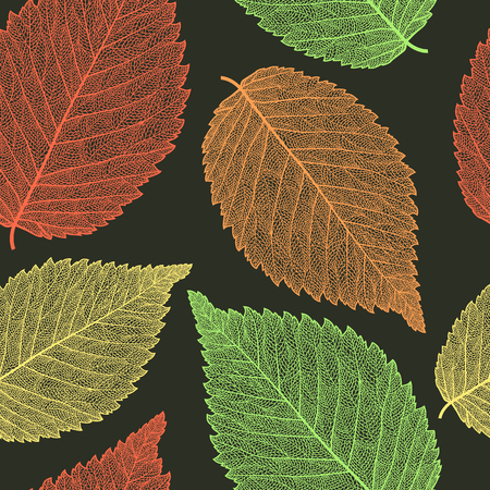 Vector seamless pattern with skeletonized elm leaves.