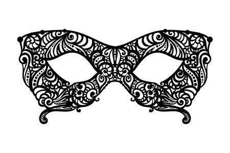 モノクロ ベクトル仮面舞踏会マスク。カード、招待状、ポスターのデザイン要素です。