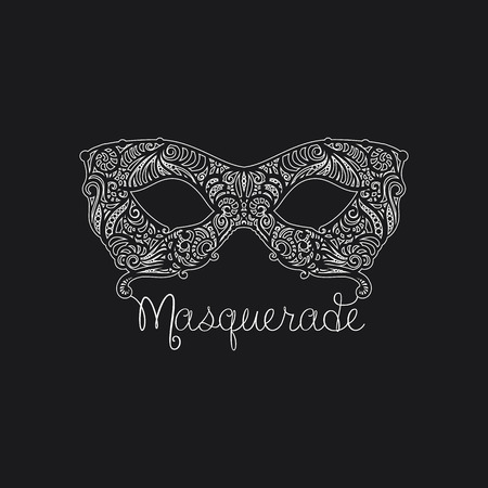 Monochrome vector Masquerade Mask. Design element for cards, invitations, posters.