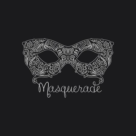 mascara de teatro: Vector monocromo máscara de la mascarada. Elemento de diseño para tarjetas, invitaciones, carteles.