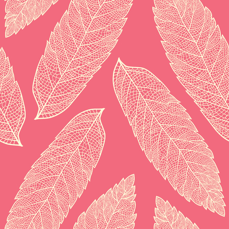cleft: Vector seamless pattern with skeletonized rowan leaves. Illustration