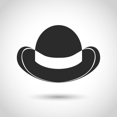 bowler hat: vector black icon bowler hat on a white background with shadow