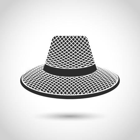 bowler hats: vector black icon straw hat on a white background with shadow