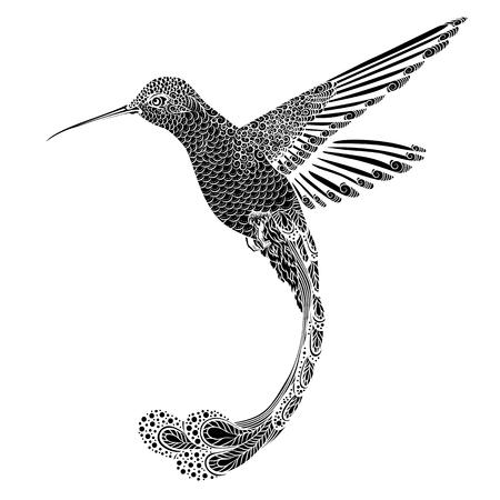 Kolibri Tattoo. psychedelisch, zentangle Art. Vektor-Illustration auf einem weißen Hintergrund