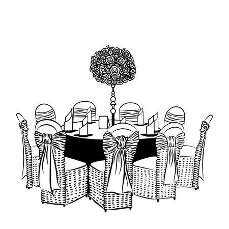 Bankett-Tisch mit Stühlen, dekoriert mit Stoff, Bänder und Blumen.