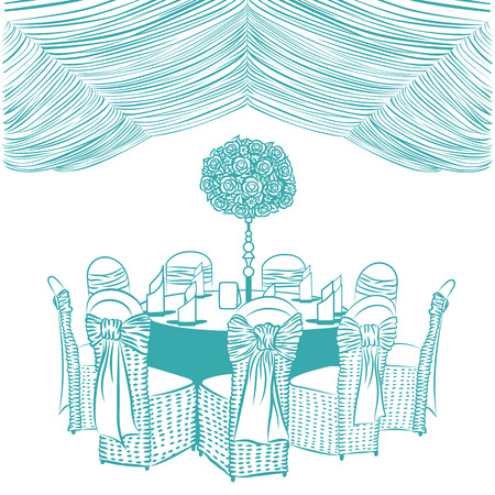 a meeting with a view to marriage: Banquet table with chairs, decorated with fabric, ribbons and flowers. Illustration