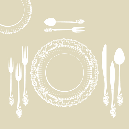 tablespoon: set of dishes, such as plates, forks, spoons and knives Illustration