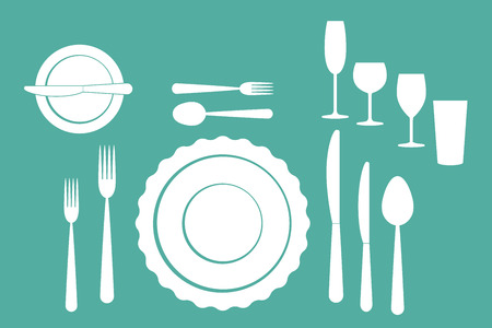 settings: set of dishes, such as plates, forks, spoons and knives Illustration