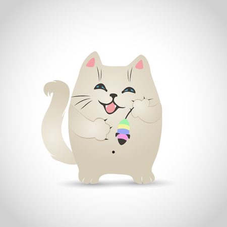 kitty: Vector illustration of a funny little cat on a white background with shadow.