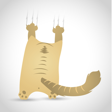 naughty or nice: Vector illustration of a funny little cat on a white background with shadow.
