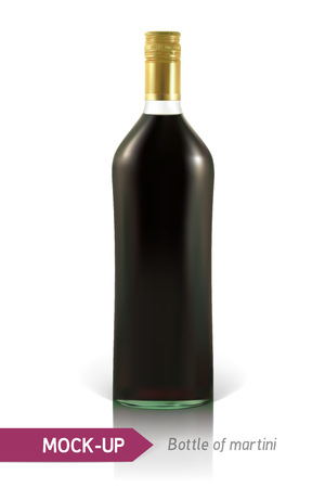 vermouth: Realistic martini bottle or other vermouth bottle. Mockup on a white background with shadow and reflection.