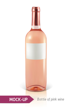 unopened: Mockup realistic bottle of rose wine on a white background with reflection and shadow. Template for wine label design.