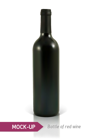 unopened: Mockup realistic bottle of red wine on a white background with reflection and shadow. Template for wine label design.