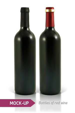 unopened: Mockup two realistic bottle of red wine on a white background with reflection and shadow. Template for wine label design. Illustration