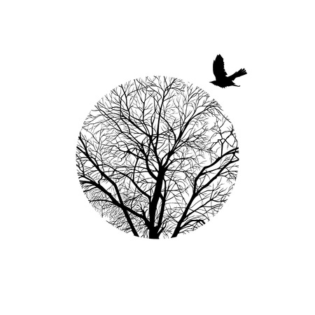 concise: minimalistic cropped image of a winter tree in a circle. design element for cards, simple concise illustration.