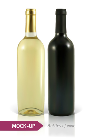 vino: Mockup realistic bottles of white and red wine on a white background with reflection and shadow. Template for wine label design.