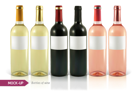 wine bottles: Mockup realistic bottles of wine on a white background with reflection and shadow. Template for wine label design. Illustration