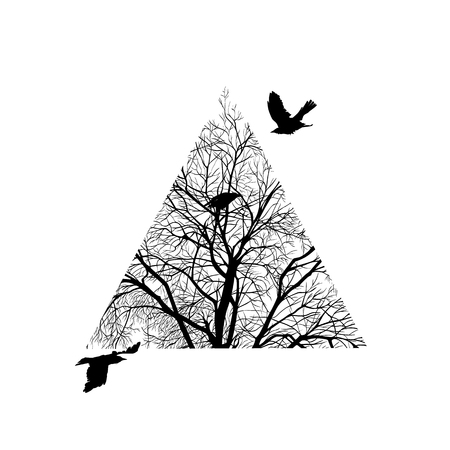 concise: minimalist image of a winter tree cropped in a triangle. design element for cards, simple concise illustration. Illustration