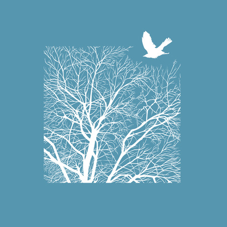 concise: minimalistic cropped image of a winter tree in the square. design element for cards, simple concise illustration. Illustration
