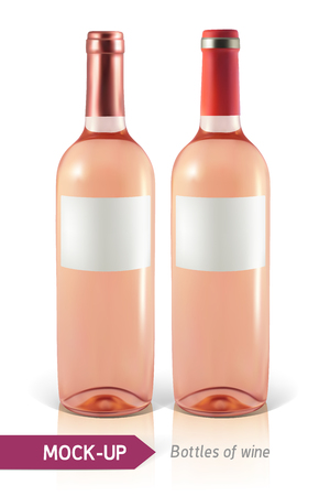 unopened: Mockup two realistic bottle of rose wine on a white background with reflection and shadow. Template for wine label design. Illustration