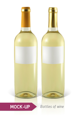 unopened: Mockup two realistic bottle of white wine on a white background with reflection and shadow. Template for wine label design.