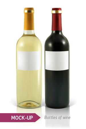 bottiglie realistici mockup di vino bianco e rosso su sfondo bianco con la riflessione e l'ombra. Modello per la progettazione di etichette di vino.