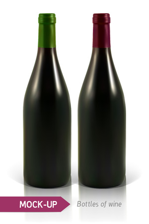 unopened: Mockup realistic bottles of white and red wine on a white background with reflection and shadow. Template for wine label design.