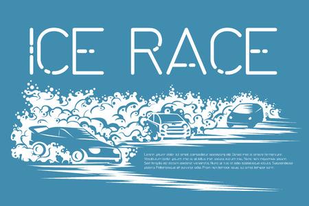 carreras de coche de invierno en una pista de hielo. Plantilla para un cartel, entradas, tarjetas.