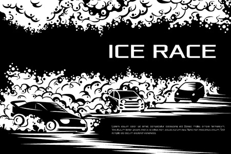 snow drifts: Winter car races on an ice track. Template for a poster, tickets, cards.