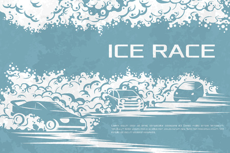 winter car: Winter car races on an ice track. Template for a poster, tickets, cards.