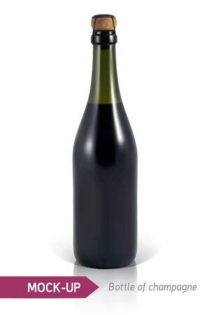 unopened: Mockup realistic bottles of champagne on a white background with reflection and shadow. Template for label design. Illustration