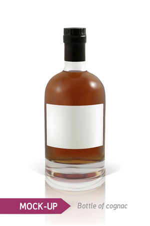 unopened: Mockup realistic bottles of cognac on a white background with reflection and shadow. Template for label design. Illustration