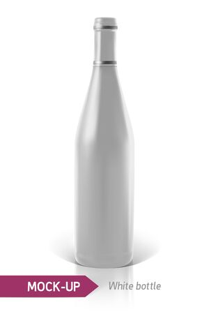unopened: Mockup realistic white bottles of wine or cocktail on a white background with reflection and shadow. Template for label design. Illustration