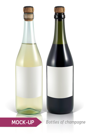 Mockup realistic bottles of champagne on a white background with reflection and shadow. Template for label design.